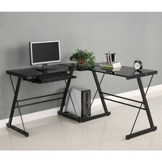 L-Shape Black Glass Corner Computer Desk
