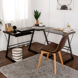 L-Shape Black Glass Corner Computer Desk