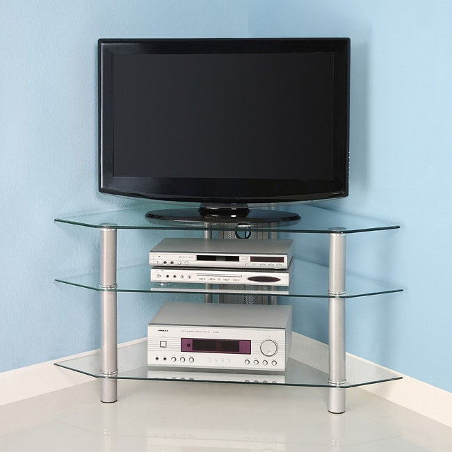 Glass Metal 44 Inch Corner Tv Stand Overstock Shopping