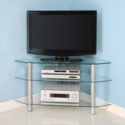 Glass Metal 44-inch Corner TV Stand