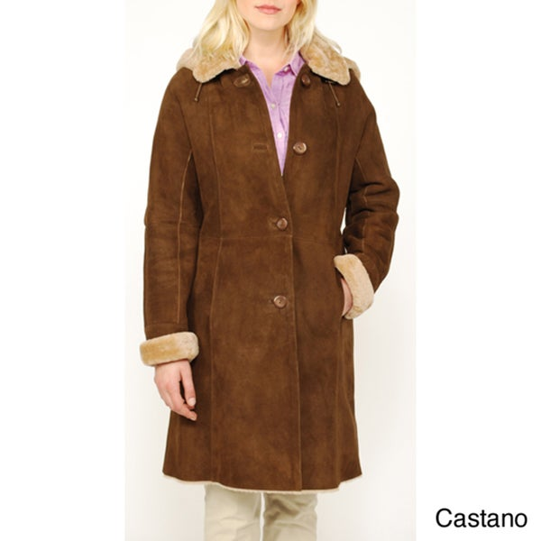 Women's Hooded Shearling Car Coat