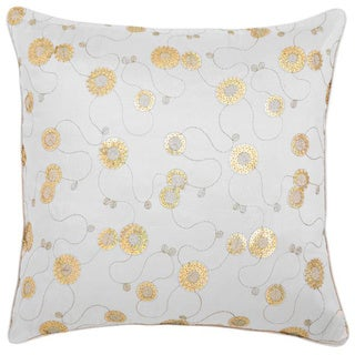 Decorative Floral Swirls Beige Cushion Cover