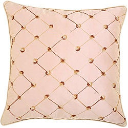 Beige Diamond Embroidered Cushion Cover