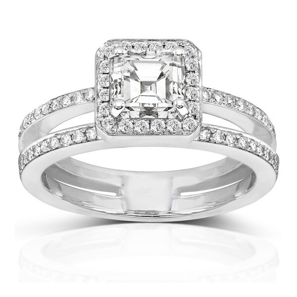 Annello 14k Gold 1 1/3ct TDW Asscher Diamond Engagement Ring (H-I, SI1-SI2)
