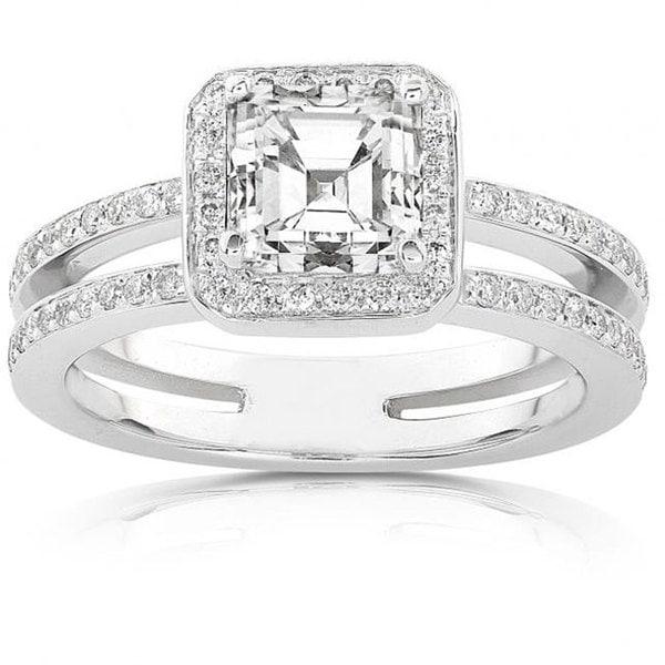 Annello 14k Gold 1 1/3ct TDW Asscher Diamond Engagement Ring (H-I, SI1-SI2)