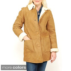 Women's Button-front Shearling Car Coat