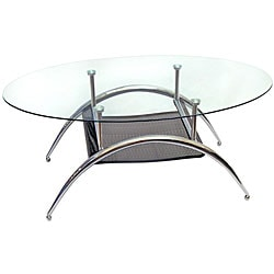Glass Coffe Table with Black Mesh Shelf