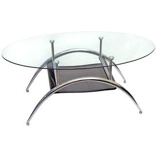 Glass Coffe Table with Black Mesh Shelf