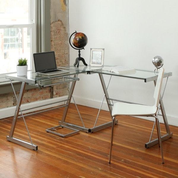 L-Shape Glass Corner Computer Desk