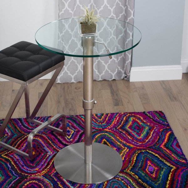 Krib Round Glass Adjustable Height Pub Table