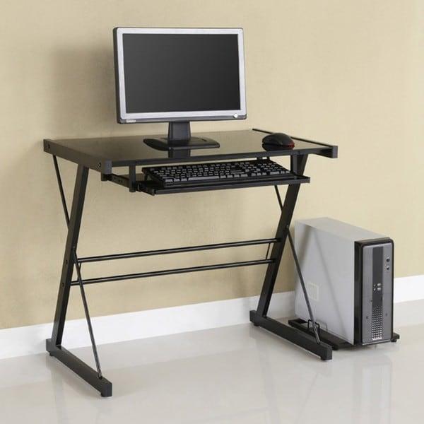 Black Metal Glass Computer Desk