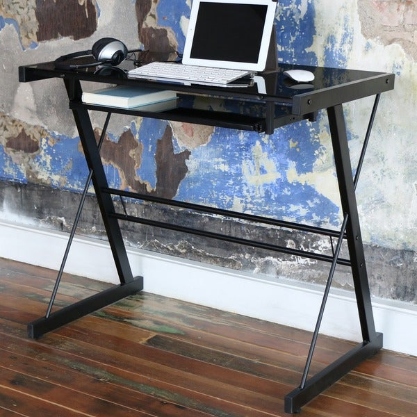 Black Metal Glass Computer Desk