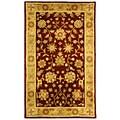 Safavieh Handmade Heritage Kashan Burgundy/ Beige Wool Rug (2' x 3')