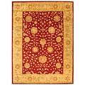 Handmade Heritage Kashan Burgundy/ Beige Wool Rug (5' x 8')