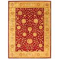 Handmade Heritage Kashan Burgundy/ Beige Wool Rug (6' x 9')