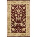 Handmade Heritage Kashan Burgundy/ Beige Wool Rug (6&#39; x 9&#39;)