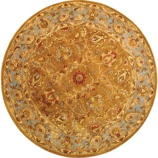 Handmade Heritage Shahi Brown/ Blue Wool Rug (6' Round)
