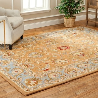 Handmade Heritage Shahi Brown/ Blue Wool Rug (7'6 x 9'6)
