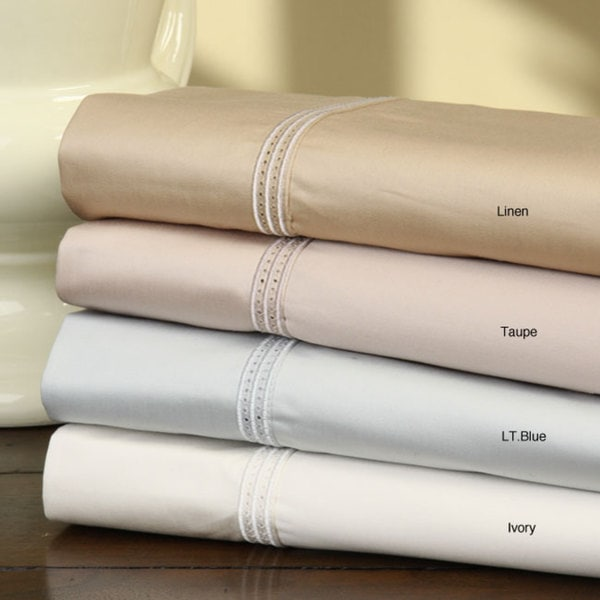 Egyptian Cotton 800 Thread Count Embroidered and Hemstitch Border Sheet Set