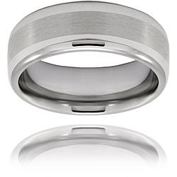 Men's Tungsten Brushed and Polished Rounded Edge Band (8 mm)