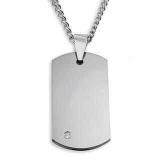 Crucible Men's Tungsten Carbide Diamond Dog Tag Necklace