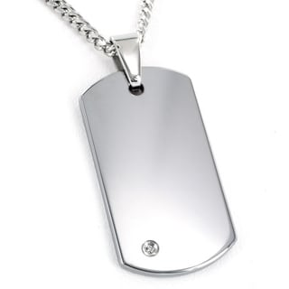 Crucible Men's Tungsten Carbide Diamond Dog Tag Necklace