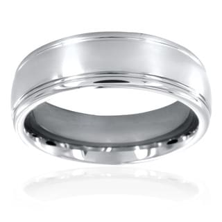 Men's Tungsten Grooved and Polished Domed Ring (7 mm)