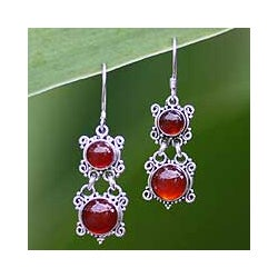 Carnelian 'Radiant Queen' Earrings (Indonesia)