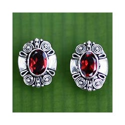 Sterling Silver 'Exuberance' Garnet Earrings (Indonesia)