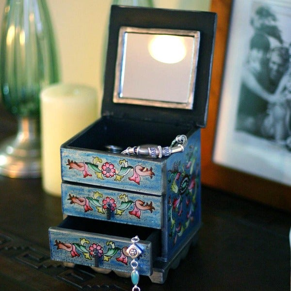 Celestial Blue Flowers Chest Style Hand Painted Reverse Glass Jewelry Box (Peru)