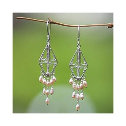 Sterling Silver 'Pink Iridescence' Pearl Earrings (Indonesia)