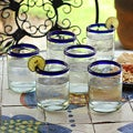 Set of 6 'Cobalt Rings' Glass Tumblers (Mexico)