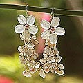Silver 'Peach Blossoms' Pearl and Quartz Earrings (Thailand)