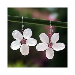 Silver 'Mystic Daisy' Rose Quartz Earrings (Thailand)