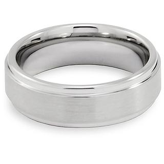 Men's Tungsten Brushed and Polished Ridged Band (7 mm)