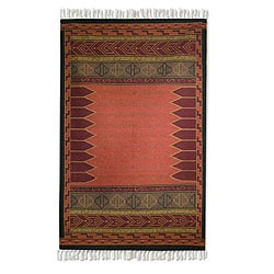 Handmade Contemporary Indo Crisp Coral Wool Area Rug (5 x 8) (INDIA)