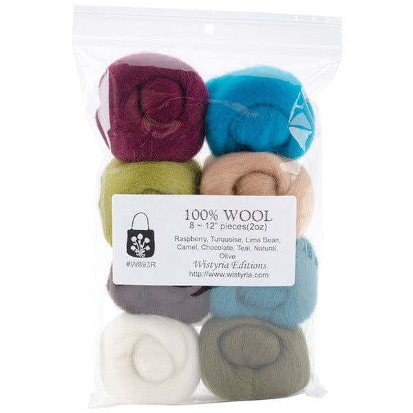 Wistyria Editions .22-Oz Assorted Wool Roving (Pack of Eight)