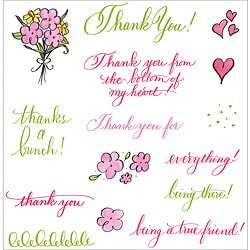 See D's 'Thank You' Rubber Stamps for Clear Blocks