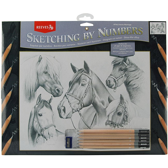 Horse Montage 13x16 Sketch By Number Kit
