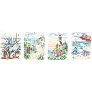 'Beach Scenes' Pencil By Number Kits (Set of 4)