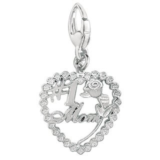 Sterling Silver '#1 Mom' with Rose in Heart Charm
