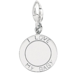 Sterling Silver 'I Love My Baby' Engravable Disc Charm