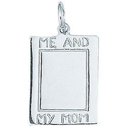 Sterling Silver 'Me and My Mom' Engraved Rectangular Disc Charm