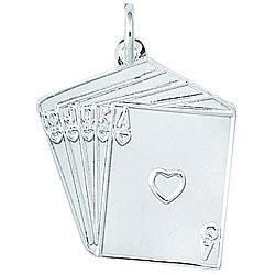 Sterling Silver Straight Flush of Hearts Charm
