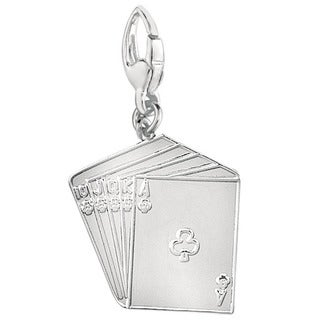 Sterling Silver Club Straight Flush Charm