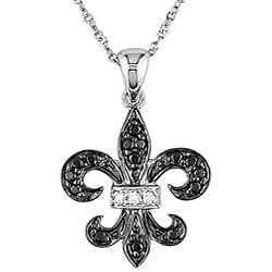 Miadora 10k Gold 1/8ct Black and White Diamond Fleur De Lis Necklace