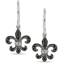 Miadora 10k Gold 1/10ct TDW Black and White Diamond Dangle Earrings