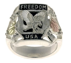 Black Hills Gold and Sterling Silver Black Onyx Freedom Ring