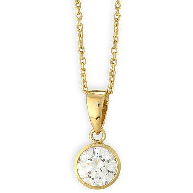 Simon Frank 14k Gold Overlay CZ Solitaire Necklace