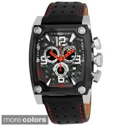 Akribos XXIV Men's Leather-Strap Swiss-Quartz Chronograph Watch